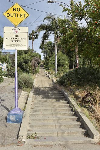 "Mattachine Society - The Mattachine Steps in Silver Lake, Los Angeles. The sign reads, ""Harry Hay founded the Mattachine Society on this hillside on November 11, 1950""."