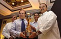 The Minister for Civil Aviation, Shri Praful Patel and the CMD, ONGC, Shri R.S. Sharma, launching the 2nd ONGC Nehru Cup, in New Delhi on August 06, 2009.jpg