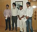 The Minister of State (Independent Charge) for Youth Affairs & Sports, Dr. M.S. Gill with the Beijing Olympic Medalist, Shri Abhinav Bindra, Shri Sushil Kumar and Shri Vijender Kumar, in New Delhi on September 18, 2008.jpg