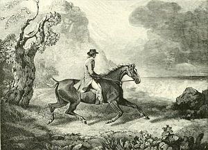 George Garrard - The 9th Duke of Hamilton and Brandon on a Cover Hack (wood engraving after Garrard, 1797)