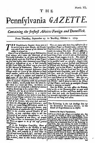 Indentured servitude in Pennsylvania - Image: The Pennsylvania Gazette 1729 9 25 Project Gutenberg etext 20203