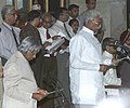 The President Dr. A.P. J. Abdul Kalam administering the oath as Minister of State to Shri A. Narendra at a Swearing-in Ceremony in New Delhi on May 22, 2004.jpg