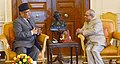 The Prime Minister of Nepal, Mr. Pushpa Kamal Dahal calling on the President, Shri Pranab Mukherjee, at Rashtrapati Bhavan, in New Delhi on September 16, 2016.jpg
