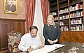 The Vice President, Shri M. Venkaiah Naidu signing the Visitor's Book in the presence of the President of Malta, Ms. Marie-Louise Coleiro Preca, at San Anton Palace, Halbalzan, Malta on September 17, 2018.JPG