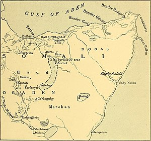 Dibatag - An 1894 map showing the historical distribution of dibatag in Somaliland