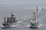 The guided missile destroyer USS McCampbell (DDG 85), right, conducts a replenishment at sea with Japan Maritime Self-Defense Force fast-combat support ship JS Hamana (AOE 424) followed by destroyer JS Shimakaze 120607-N-TG831-1198.jpg