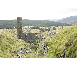 Rhiwbach Quarry - The ruins of the engine house and mill at Rhiwbach