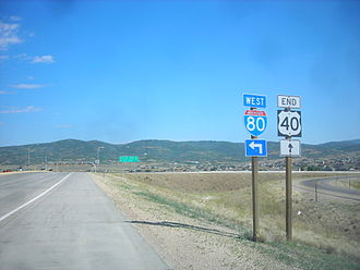 U.S. Route 40 - The western terminus of U.S. Route 40 at Interstate 80 in Silver Creek Junction