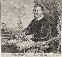 Retrat del matemàtic i cartógrafo Jacob Aertsz. Colom, assegut en una taula amb una brúixola i un atles. Al costat d'ell, un tinter amb una ploma d'escriptura, llibres i un armillarium. Al fons un mar amb vaixells de vela.