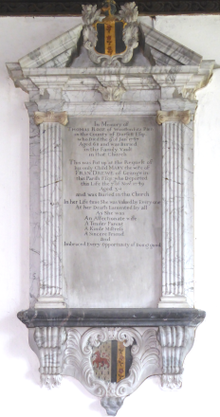 Mural monument to Thomas Rose (1679-1747), Broadhembury Church, Devon ThomasRose Died1747 OfWoottonFitzPaine Dorset BroadhemburyChurch Devon.PNG