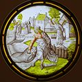 Three Rounels from the Life of Tobias, 2. Tobias defeats the Fish, Southern Netherlands, c. 1500, stained glass - Museum Schnütgen - Cologne, Germany - DSC09856.jpg