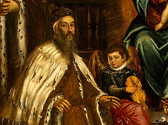 Alvise I Mocenigo - Detail of painting by Tintoretto showing Alvise I Mocenigo and his family before the Madonna.