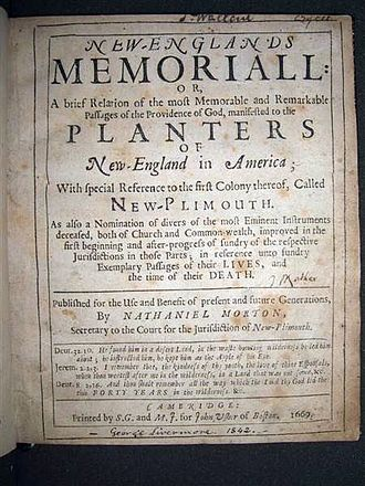 Nathaniel Morton - Title page, New England's Memorial, by Nathaniel Morton. Published at Cambridge, Massachusetts, 1669