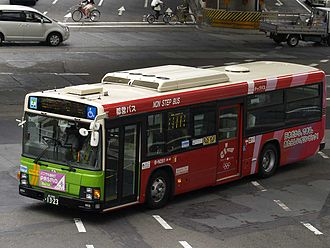 Tokyo bid for the 2016 Summer Olympics - Fleet of Toei Bus wrapped with Tokyo 2016 Olympic bid advertising.