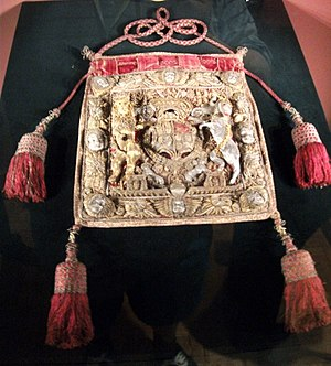 Sir Orlando Bridgeman, 1st Baronet, of Great Lever - Ceremonial purse at Weston Park, used by Sir Orlando as Lord Keeper of the Great Seal, 1667-72, and shown in his portrait above