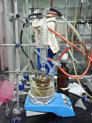 Toluene is refluxed in sodium-benzophenone to ...