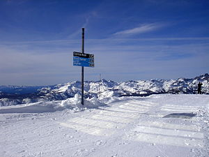 Mammoth Mountain Ski Area - The view from the top of the famous Cornice Bowl ski run, at the summit of the mountain.