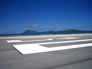 Totegegie Airport - Totegegie runway, looking out at Mangareva