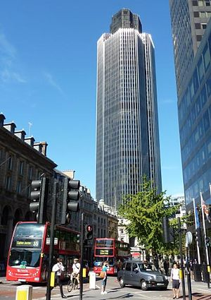 NatWest - The former NatWest Tower (now known as Tower 42), from the junction of Bishopsgate with Leadenhall Street in the City of London.