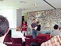 Training Day Wiki Loves Monuments 2015 - Bologna. Cristian Cenci parla di WLM, sullo sfondo Lorenzo Losa ed Alessandra Gasparini.jpg
