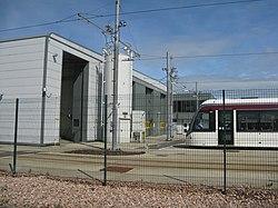 Tram at the depot entrance (geograph 4030577).jpg