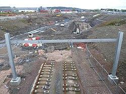 Tramline construction, Gogar Roundabout (geograph 3176714).jpg