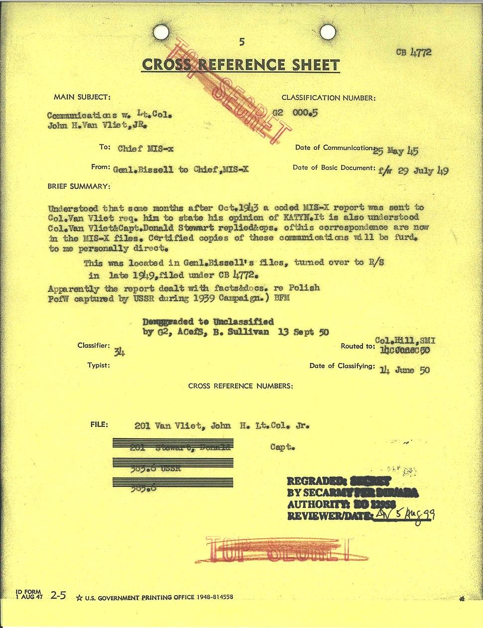 Transmittal - Communications with Lt. Col. John H. Van Vliet, Jr. - NARA - 6256897