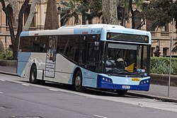 Transport NSW liveried (2604 ST), operated by Sydney Buses, Bustech VST bodied Scania K280UB on Loftus Street in Circular Quay.jpg