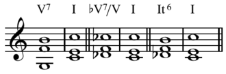 Tritone substitution - Original, tritone substitution, and augmented sixth chord