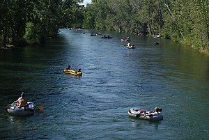 English: Recreational floaters on the Boise Ri...