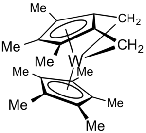 Bent metallocene - Double tuck-in complexes, such as this derivative of decamethyltungstocene, are typical products of bent metallocenes.