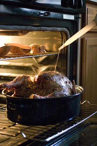 Basting (cooking) - Basting a turkey with a turkey baster