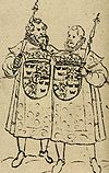 Two heralds at the funeral of King Johan III from 1594
