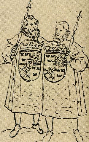 Swedish heraldry - Two heralds at the funeral of King Johan III, 1594