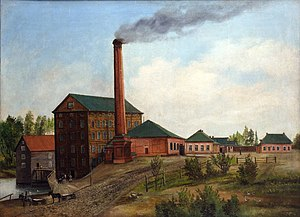 Steam mill - A type of steam mill in Yaroslavl, Russia, with a body of water and a high chimney