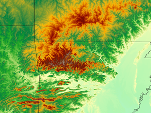 U.S. Interior Highlands - 1:1000000 scale DEM of the U.S. Interior Highlands