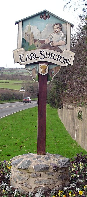 Earl Shilton - Signpost of carpenter and church in Earl Shilton