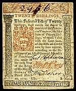 Pennsylvania colonial currency, 20 shilling, 1771 (obverse)