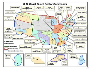 United States Coast Guard Sector - Map of Sectors across the United States