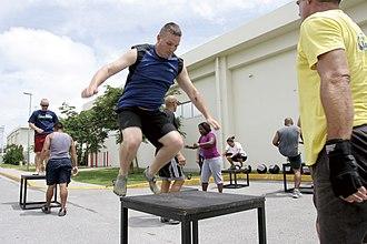 Plyometrics - A US Marine performs plyometric jumps in Camp Foster, Okinawa