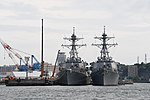 USS Curtis Wilbur (DDG-54) & Benfold (DDG-65) front view at U.S. Fleet Activities Yokosuka April 30, 2018.jpg