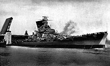 The battleship Massachusetts passed through an opened drawbridge