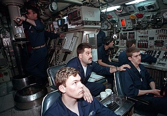 USS Pargo (SSN-650) - Sailors at work on the Pargo in April 1991.