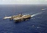 USS Roanoke (AOR-7) refueling Ranger (CV-61) and HMCS Terra Nova (DDE 259) 1986.JPEG