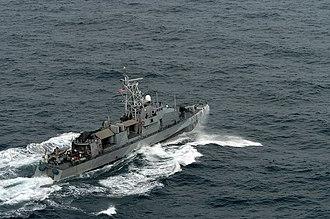 USS Typhoon - USS Typhoon (PC 5) patrols the waters of the Persian Gulf, February 2005.