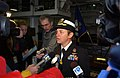 US Navy 040331-N-4614W-010 Capt. Nora W. Tyson, Commanding Officer of the amphibious assault ship USS Bataan (LHD 5), takes questions from Hampton Roads, Va., area media.jpg