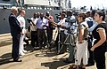 US Navy 050706-N-0401E-003 U.S. Ambassador William M. Bellamy and Commanding Officer, USS Gonzalez (DDG 66), Cmdr. Jeffrey Griffin, conduct a press conference on the pier in Mombasa, Kenya.jpg