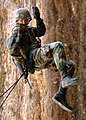 US Navy 050815-N-1261P-251 U.S. Navy Construction Electrician 3rd Class Brian A. Neilsen repels down a 65 ft. cliff during jungle warfare training located in the Northern Training Area on the island of Okinawa.jpg