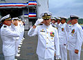 US Navy 061114-N-4399G-005 Former dock landing ship USS Harpers Ferry (LSD 49) commanding officer Commander Marlin C. Anthony is saluted by his fellow shipmates as he departs the ship following a change of command ceremony.jpg
