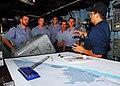 US Navy 071106-N-8933S-033 Electronics Technician 3rd Class Aliosha Hand gives a tour aboard amphibious dock landing ship USS Fort McHenry (LSD 43).jpg